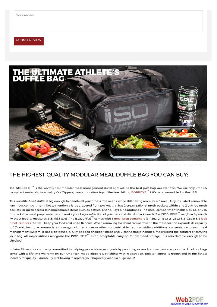 Your review. SUBMIT REVIEW. THE HIGHEST QUALITY MODULAR MEAL DUFFLE BAG ... 00f763e57c329