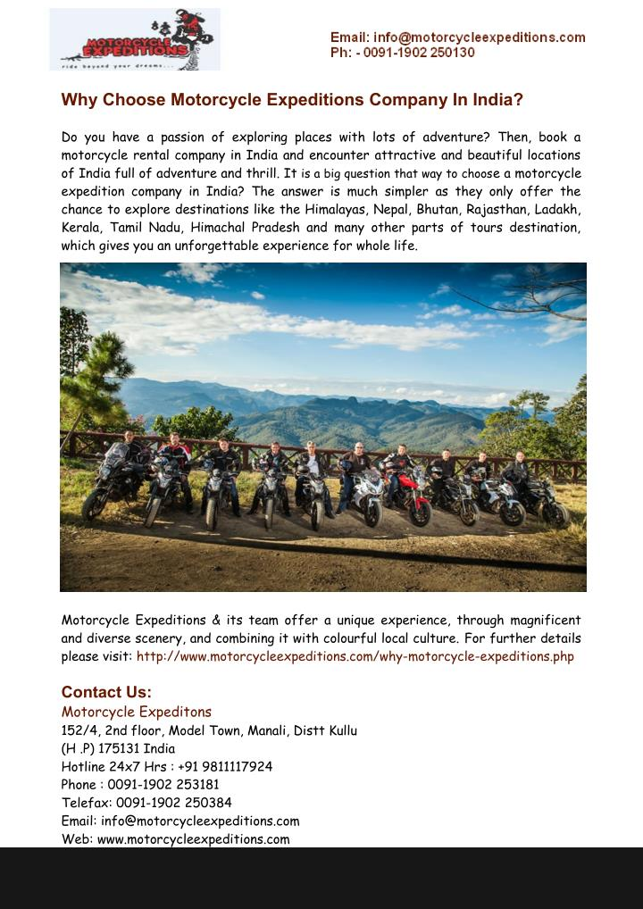 why choose motorcycle expeditions company in india n.