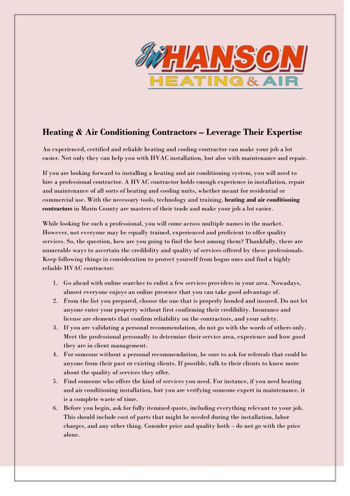 heating air conditioning contractors leverage n.