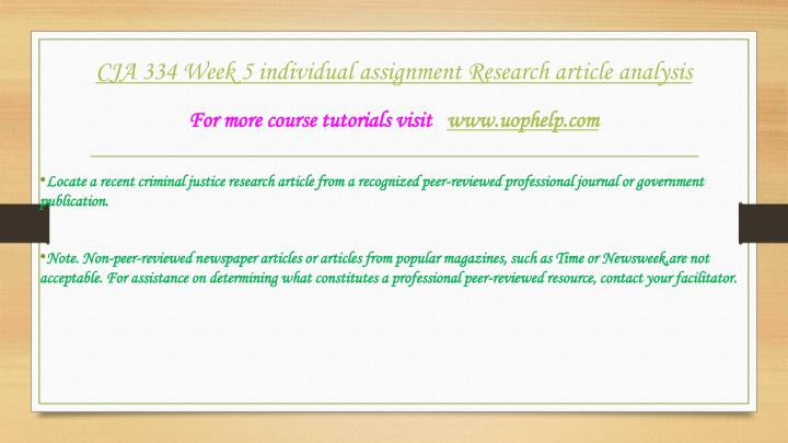 criminal justice research article from a recognized peer reviewed professional journal or government Locate recent criminal justice research article locate a recent criminal justice research article from a recognized peer-reviewed professional journal or government publication.