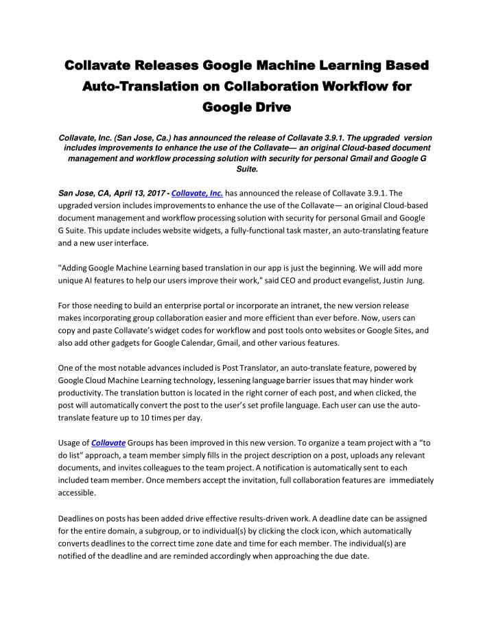 collavate releases google machine learning based n.