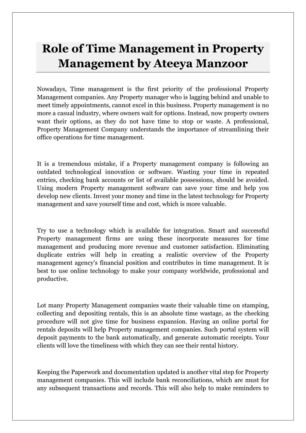 ppt - role of time management in property management by ateeya