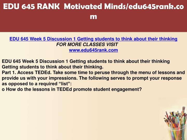 edu 645 week 1 assignment response Edu 645 entire course  buy here:   edu 645 entire course edu 645 week 1 assignment response to intervention edu 645 week 1 dq 1 assessment crisis edu 645 week 1 dq.