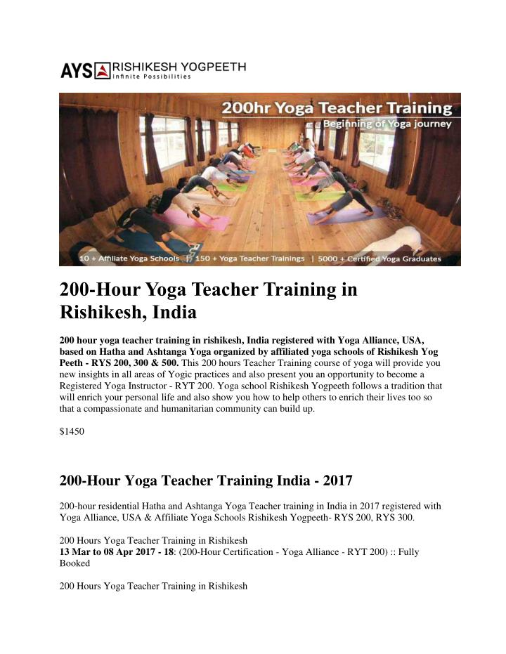 Ppt 200 Hour Yoga Teacher Training In Rishikesh Powerpoint