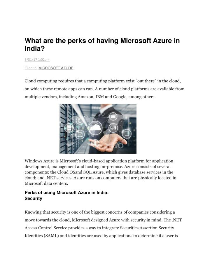 what are the perks of having microsoft azure n.