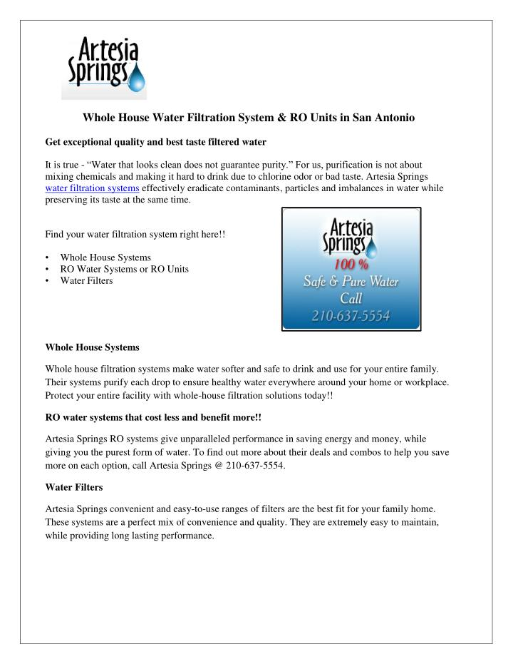 PPT Whole House Water Filtration System RO Units In San