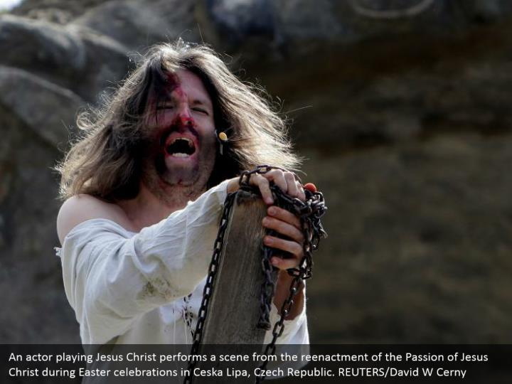 An actor playing Jesus Christ performs a scene from the reenactment of the Passion of Jesus Christ during Easter celebrations in Ceska Lipa, Czech Republic. REUTERS/David W Cerny