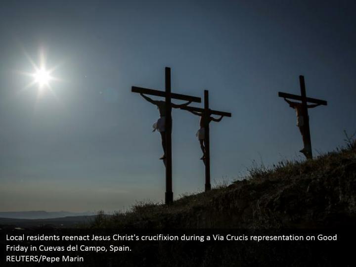 Local residents reenact jesus christ