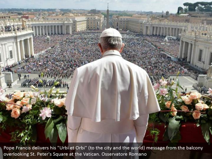 """Pope Francis delivers his """"Urbi et Orbi"""" (to the city and the world) message from the balcony overlooking St. Peter's Square at the Vatican. Osservatore Romano"""