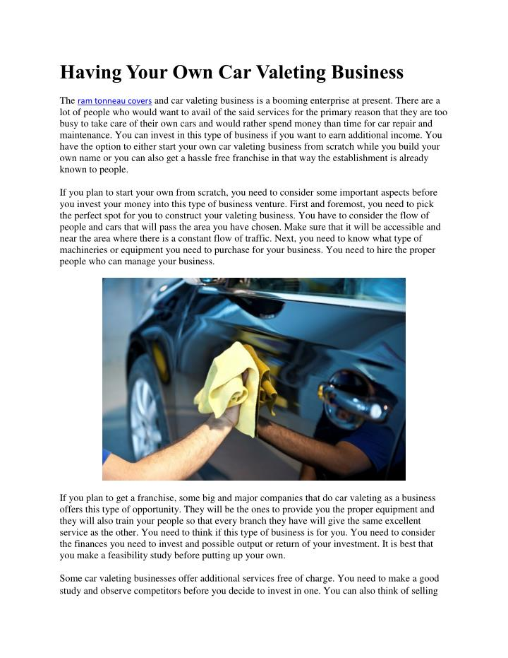 having your own car valeting business n.