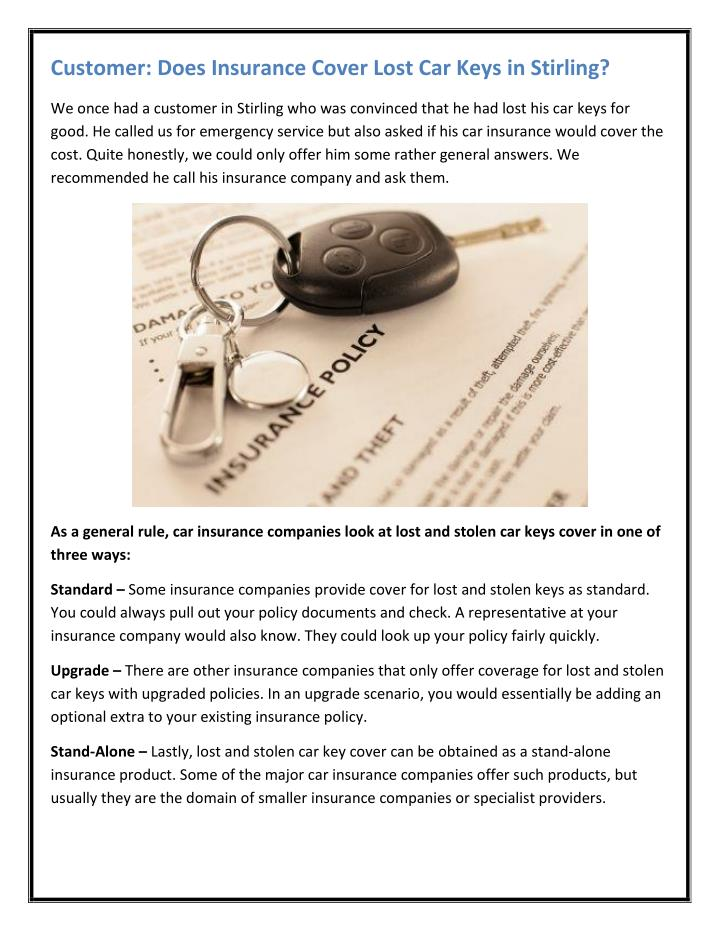 PPT - Customer: Does Insurance Cover Lost Car Keys in ...