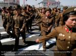 north korean soldiers march as they visit