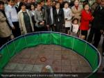 people gather around a ring with a duck