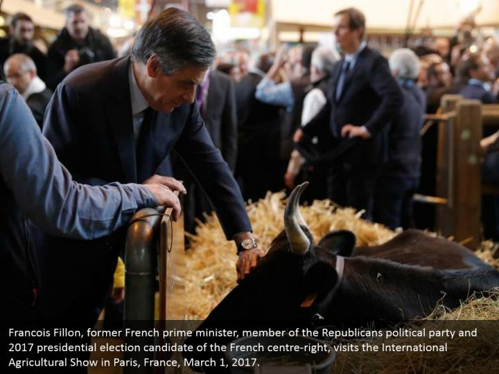 Francois Fillon, former French prime minister, member of the Republicans political party and 2017 presidential election candidate of the French centre-right, visits the International Agricultural Show in Paris, France, March 1, 2017.