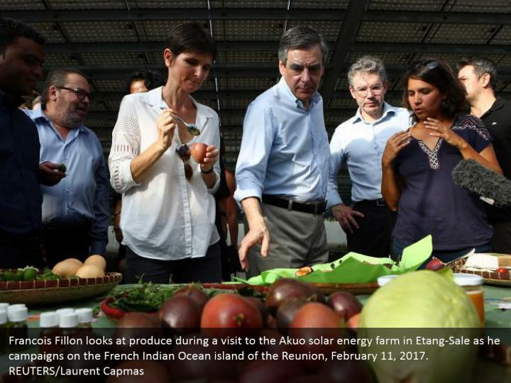 Francois Fillon looks at produce during a visit to the Akuo solar energy farm in Etang-Sale as he campaigns on the French Indian Ocean island of the Reunion, February 11, 2017. REUTERS/Laurent Capmas