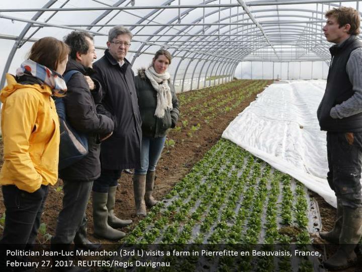Politician Jean-Luc Melenchon (3rd L) visits a farm in Pierrefitte en Beauvaisis, France, February 27, 2017. REUTERS/Regis Duvignau