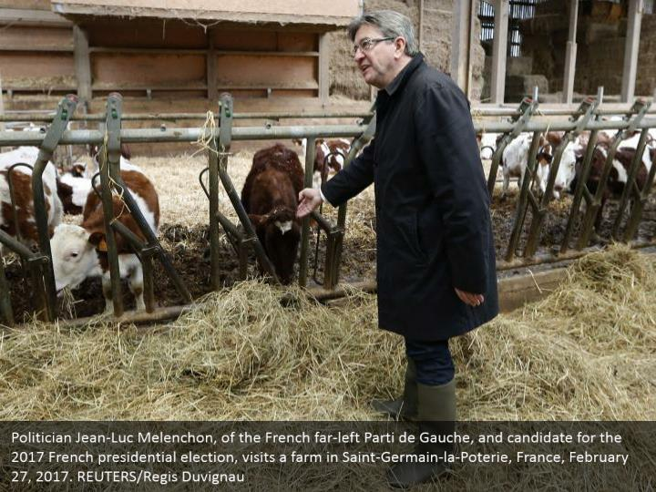 Politician Jean-Luc Melenchon, of the French far-left Parti de Gauche, and candidate for the 2017 French presidential election, visits a farm in Saint-Germain-la-Poterie, France, February 27, 2017. REUTERS/Regis Duvignau