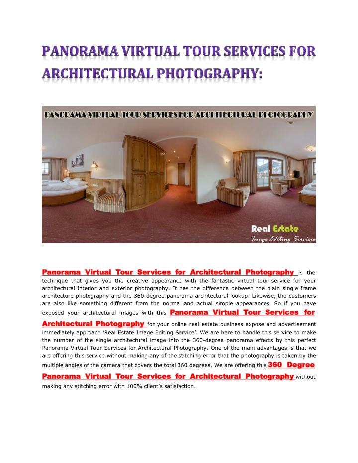 panorama virtual tour services for architectural n.