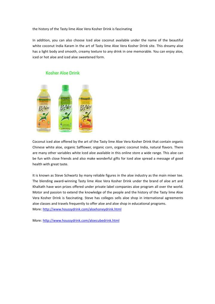 the history of the tasty lime aloe vera kosher n.