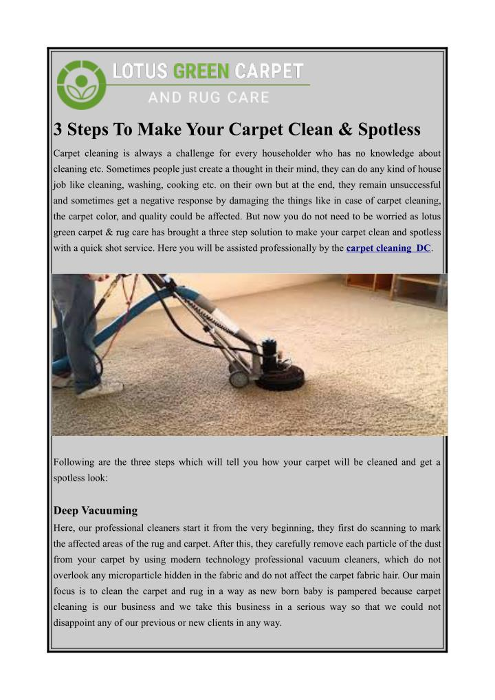 3 steps to make your carpet clean spotless n.