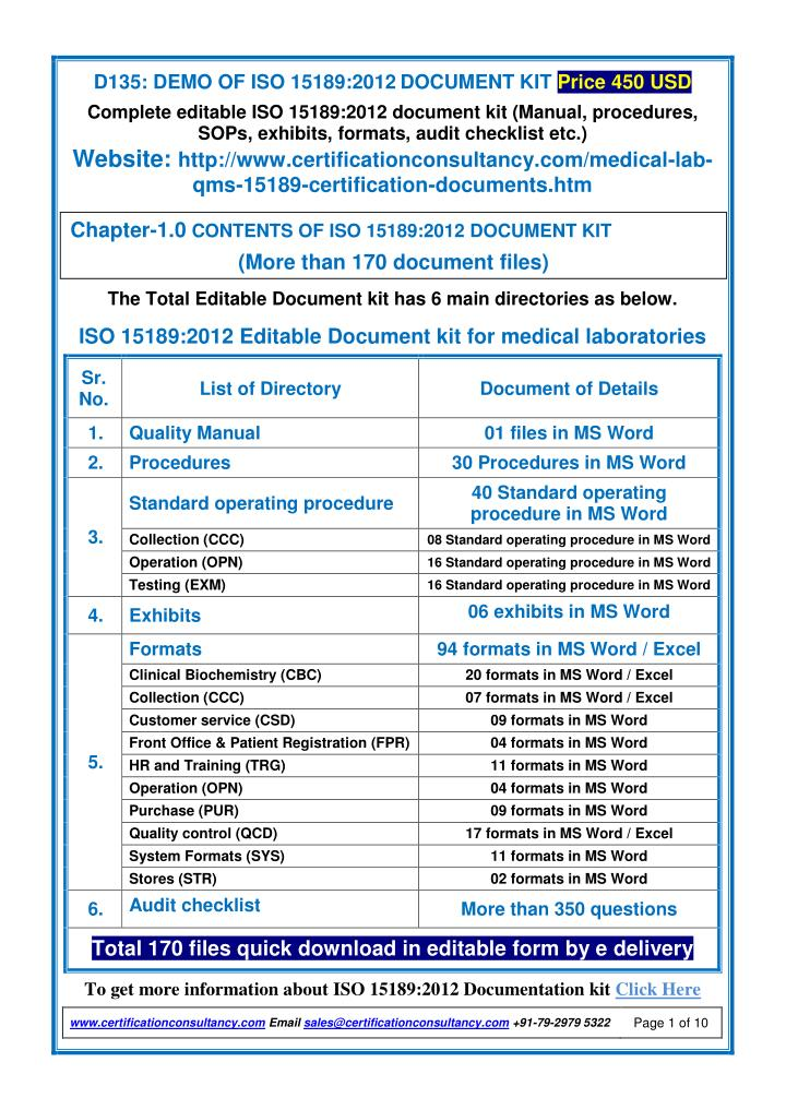 d135 demo of iso 15189 2012 document kit price n.