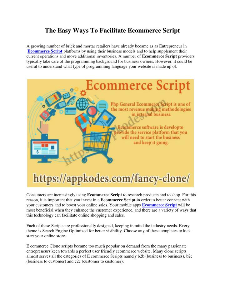 PPT - The Easy Ways To Facilitate Ecommerce Script