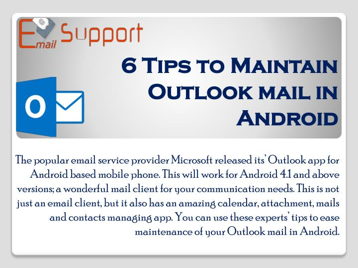 6 tips to maintain outlook mail in android n.