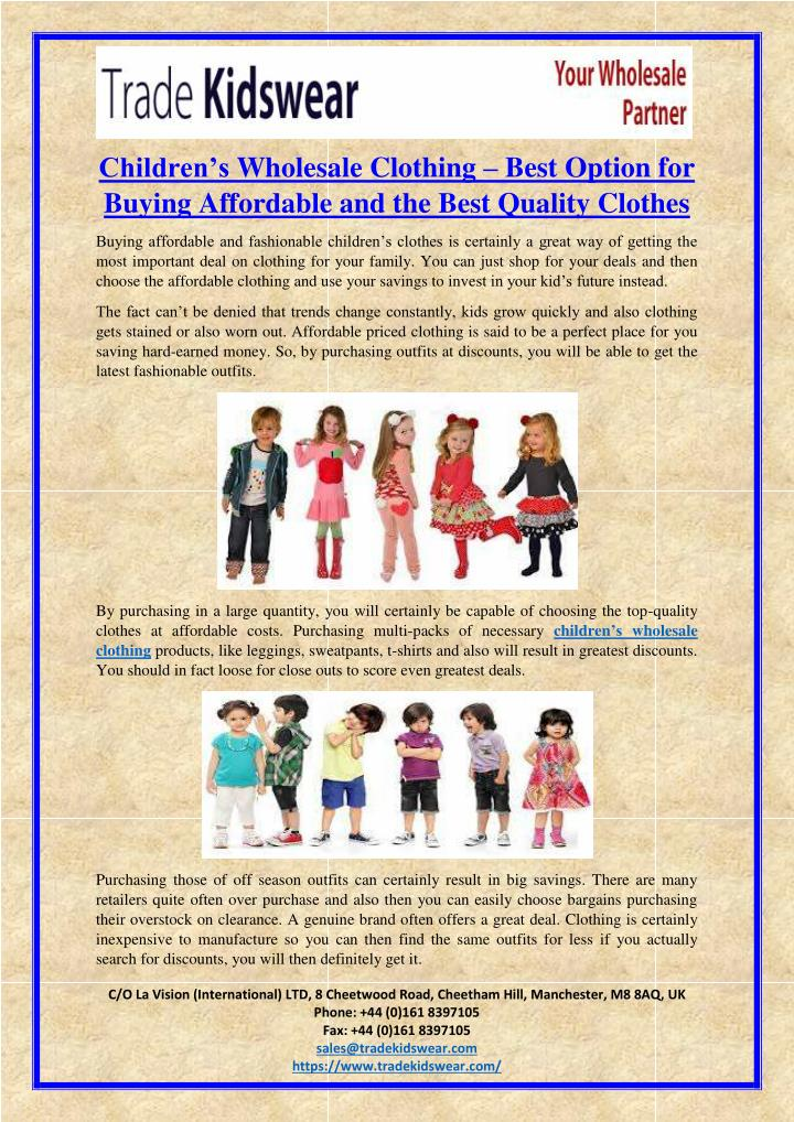 PPT - Children's Wholesale Clothing – Best Option for Buying