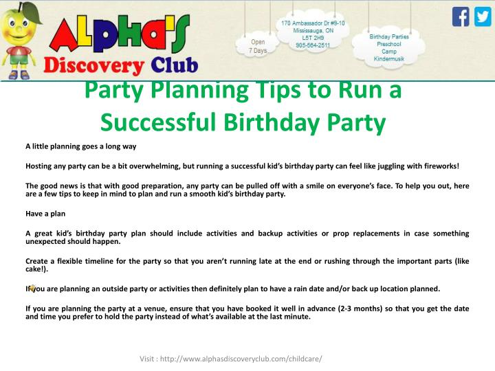 party planning tips to run a successful birthday party n.