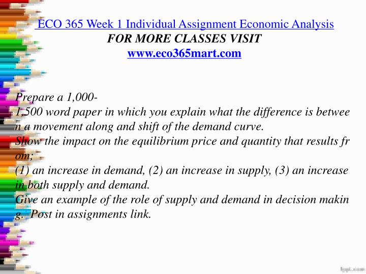 eco 365 week 2 individual Eco 365 wk 2 indiv paper - supply & demand - perfect score supply and demand simulation eco/365 university of phoenix introduction various factors, including fluctuations such as increases or decreases in prices, can cause a change in supply and demand as well.