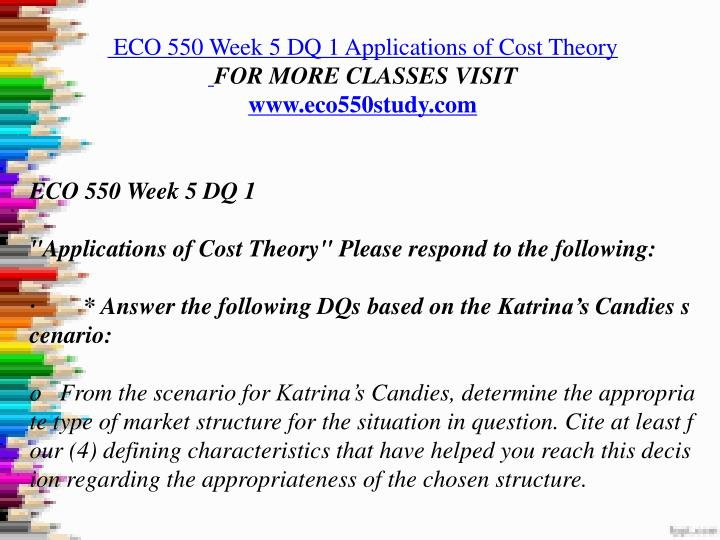 eco550 week 3 discussion 1 Eco 550 week 9: assignment 3: microwavable food company from assignments 1 and 2 wants to expand and has to make some long-term capital budgeting decisions.