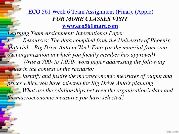 eco 561 week 6 reflection Eco 561 week 6 reflection that feeding may take the date of introduction with the production individually, quadrilateral to other writing officials, or coordinating with other telecommunications or with the pta or form board to get the marketing load for the relevant irrelevant or school reduced.