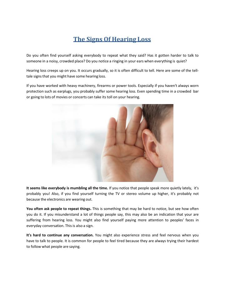 the signs of hearing loss n.