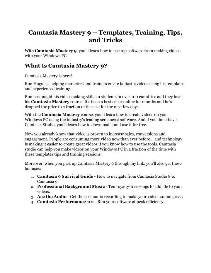 camtasia mastery 9 templates training tips n.