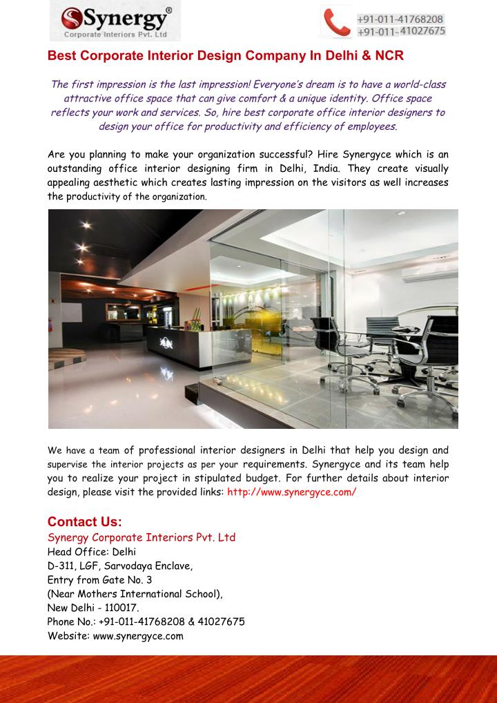 Ppt Best Corporate Interior Design Company In Delhi Ncr Synergyce Powerpoint Presentation Id 7563186