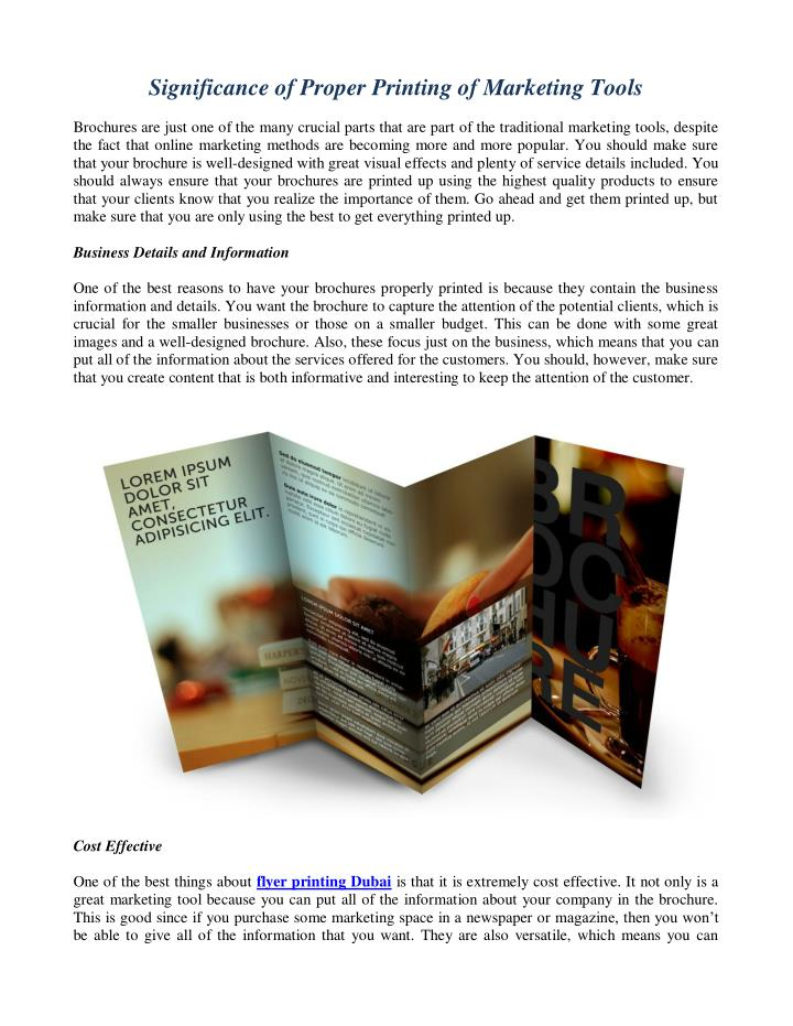 significance of proper printing of marketing tools n.