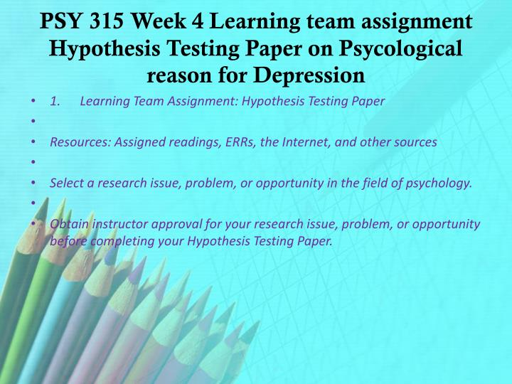 advanced hypothesis testing paper