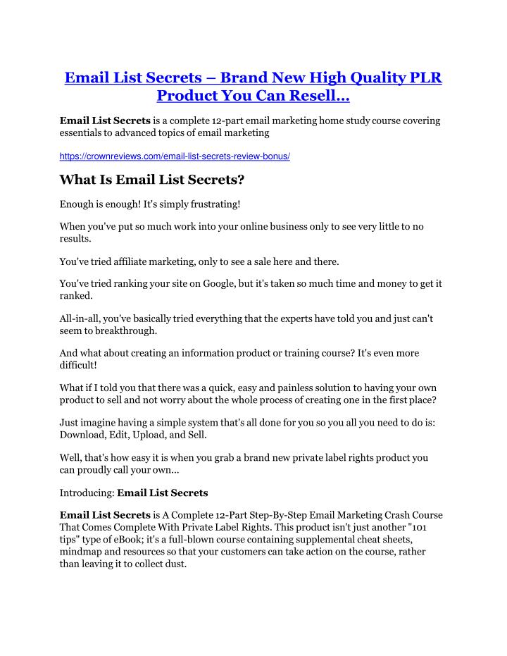 email list secrets brand new high quality n.