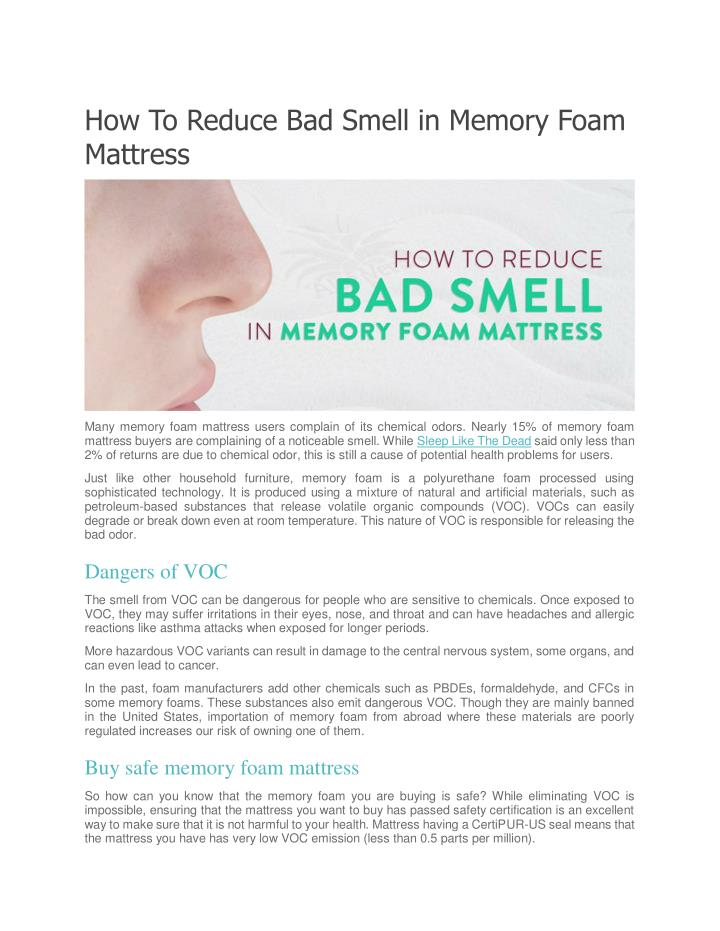how to reduce bad smell in memory foam mattress n.