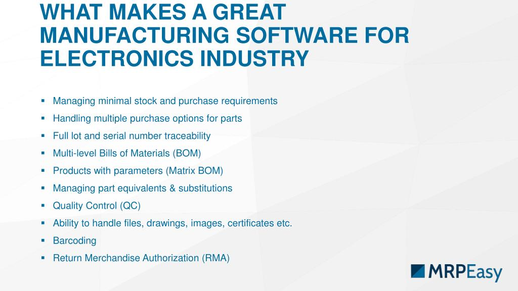 PPT - Selecting Manufacturing Software for Electronics