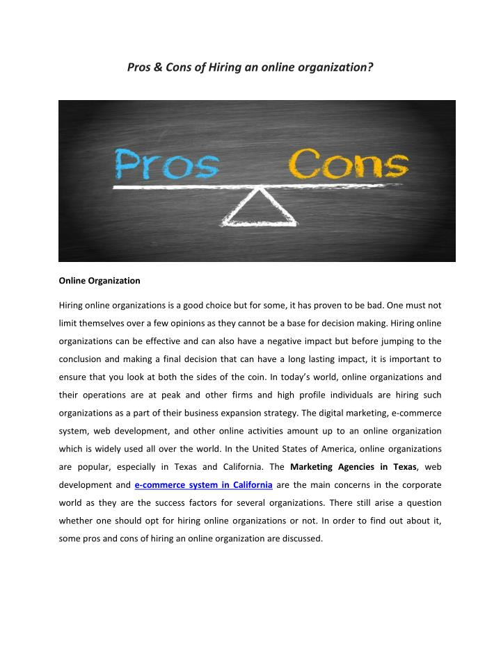 a look at the pros and cons of e commerce Pros and cons 8 magento pros and cons then you're going to need an e-commerce platform to help here is a look at the magento pros and cons.