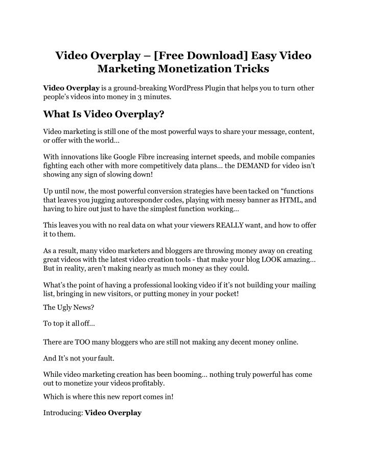 video overplay free download easy video marketing n.