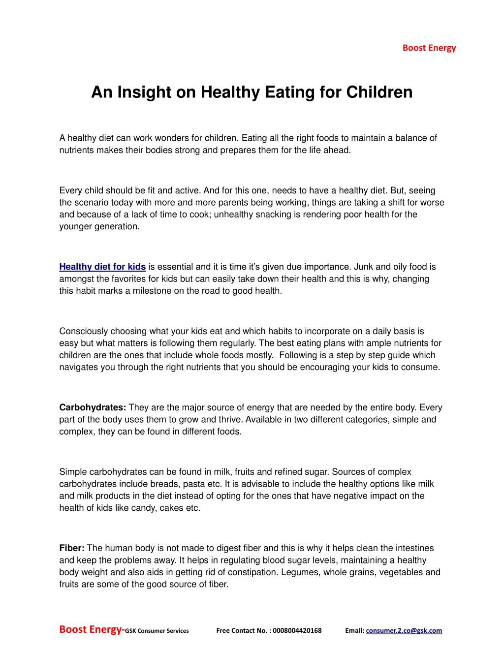 PPT - An insight on healthy eating for children PowerPoint