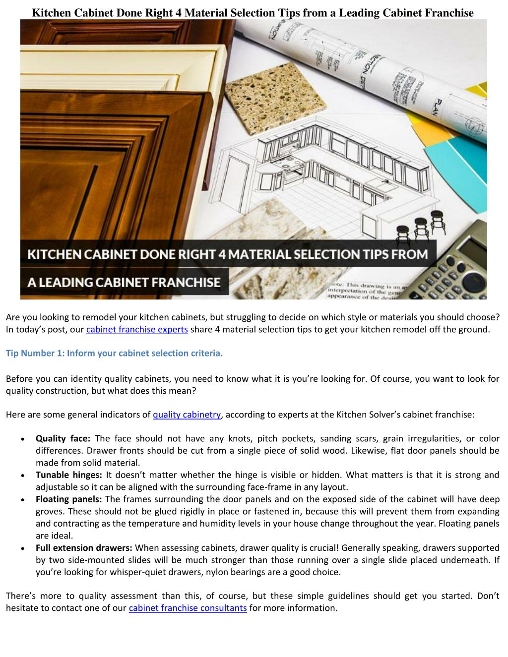 Kitchen Cabinet Done Right: 4 Material Selection Tips from a Leading Cabinet Franchise - PowerPoint PPT Presentation