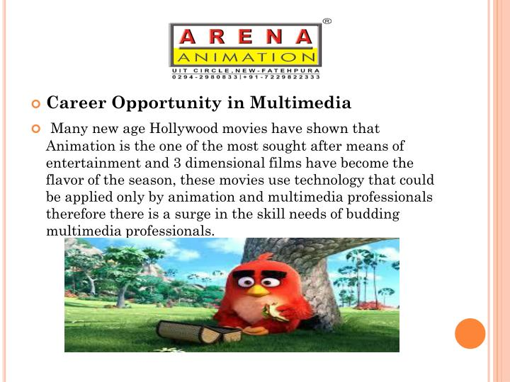 Career Opportunity in 3d Animation and Multimedia