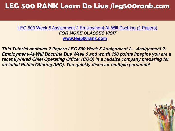 week 1 assignment leg500