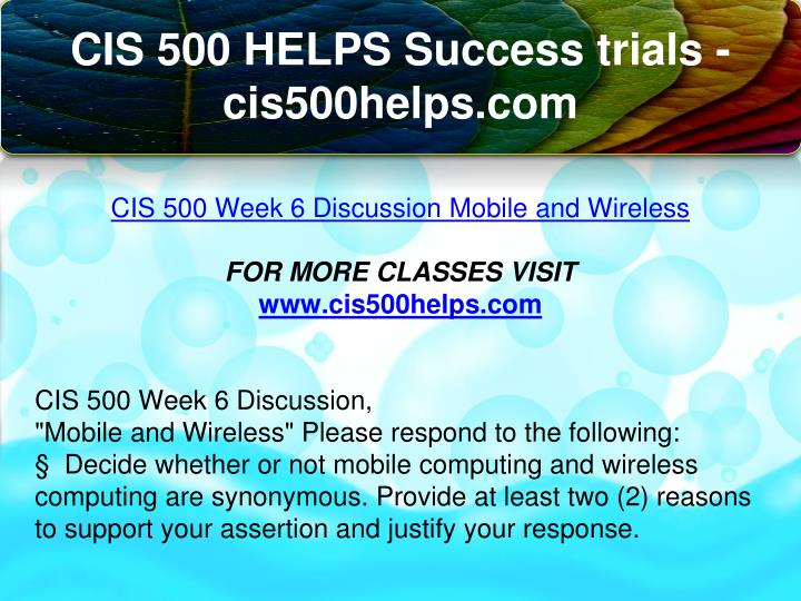 cis 500 final Cis 500 week 4 assignment 2 – strayer new click on the link below to purchase instant download.
