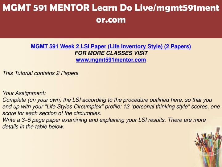 mgmt 591 lsi assignment