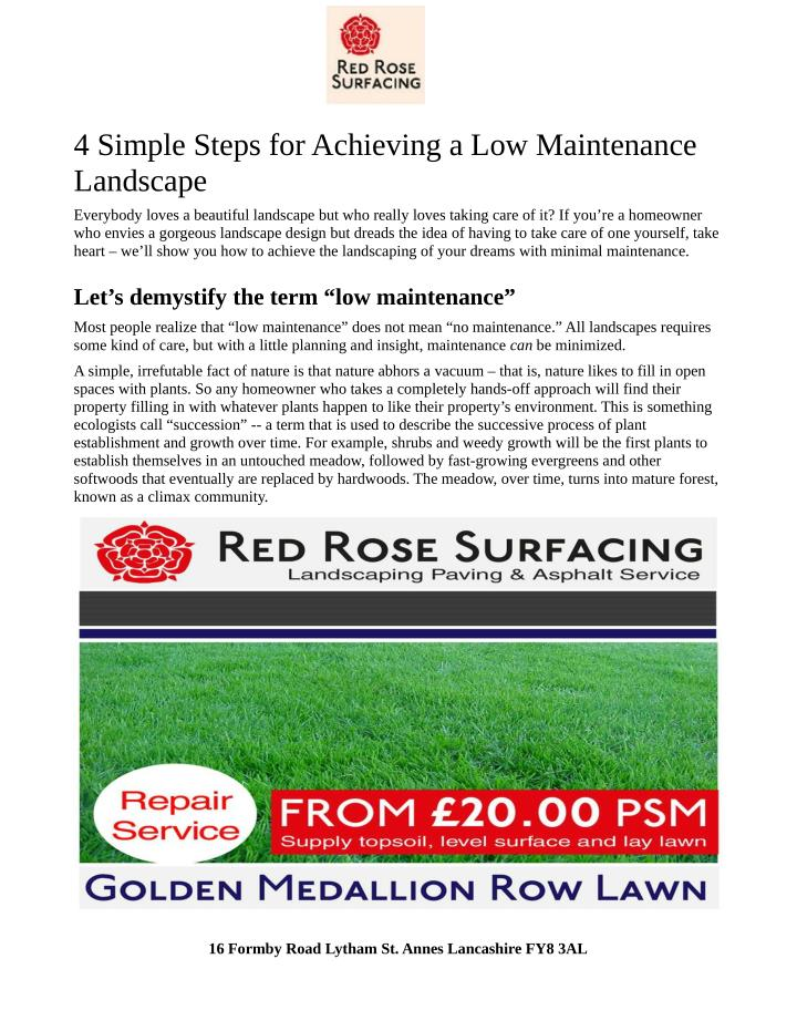 4 simple steps for achieving a low maintenance n.