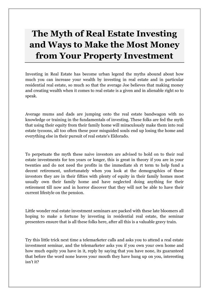 the myth of real estate investing and ways n.